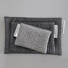 reversible quilting gray pouch