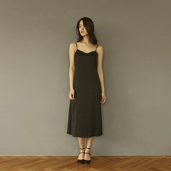 [CLAIR DE LUNE] SATIN DRESS BLACK