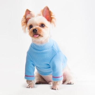 Polo neck Fleece top - Blue