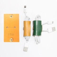 [이탈리아베지터블가죽]2016 이어폰, USB 케이블홀더(옐로우)