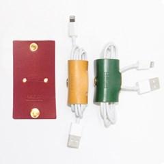 [이탈리아베지터블가죽]2016 이어폰, USB 케이블홀더(브라운)