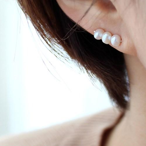 진주 라인 훅 귀걸이(6월탄생석)pearl line hook earring