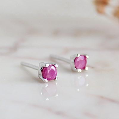 루비 프롱 귀걸이(7월탄생석)ruby prong earring