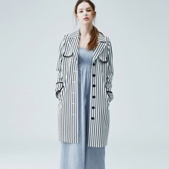 [sweet180] FRENCH STRIPE TRENCH COAT (2colors)