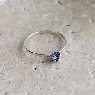 천연 아이올라이트 실버 반지 raw iolite silver ring