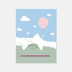 열기구여행 스위스 알프스 엽서