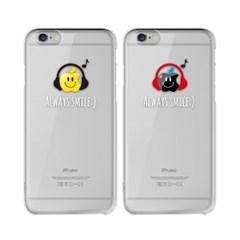 [투명하드젤리]아이폰전용-스마일애플 헤드폰(이니셜서비스)