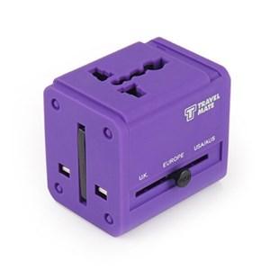 [Travel Mate] 잭큐브 멀티아답터 USB 2포트(ADT-100) - 퍼플