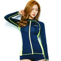 1402 여성 래쉬가드 - Navy/N.green
