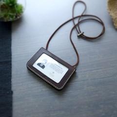 Id-card Case wide -천연가죽 사원증,신분증 케이스 [Hot Choco]