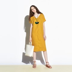 [urago] Ink linen v dress