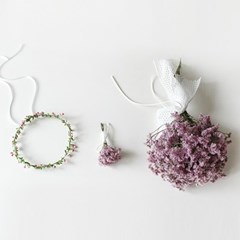 핑크 시네신스 부케+화관+부토니에 SET