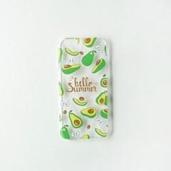 HELLO SUMMER 과일 아보카도 투명 젤리케이스