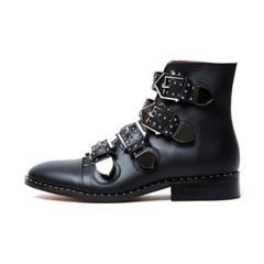 [유이 착용]Rock Studded Buckle Boots aaa030 (Black)