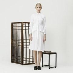 PEPLUM LONG SHIRT DRESS (WHITE)