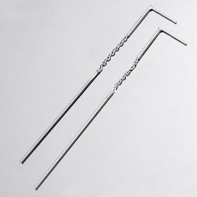 [92.5 silver]Silver Chain Bar Drop Earring