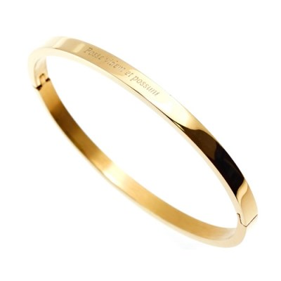 [각인팔찌]4mm Lettering Gold Simple Bangle