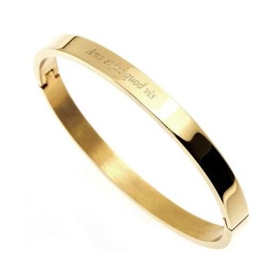 [각인팔찌]6mm Lettering Gold Simple Bangle