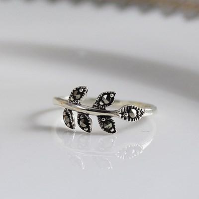 마카사이트 심플 나뭇잎 반지 marcasite simple leaf ring