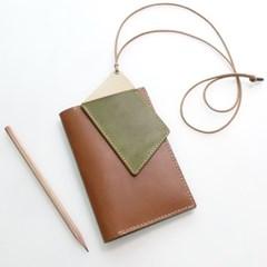 천연가죽 목걸이카드지갑-늘린사각 [스내치올리브]