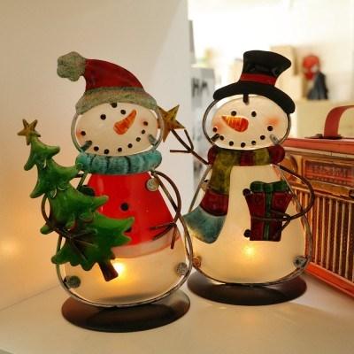 크리스마스 철제 눈사람 캔들 홀더