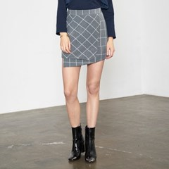 WRAP DETAIL CHECK MINI SKIRT_GR