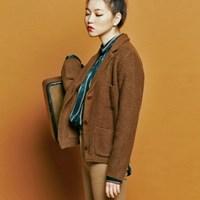 [유라고]Collar walk knit jacket