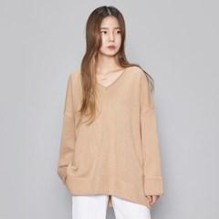 boxy fit V-neck knit (5 colors)_(474644)