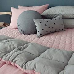 피그먼트 투톤 침구 (핑크) - 퀸사이즈