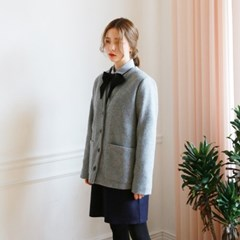 No-collar wool jacket