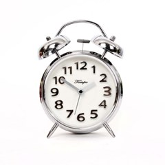 베이직 저소음 실버W 자명종시계