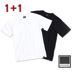 [1+1]비변형 무지티셔츠