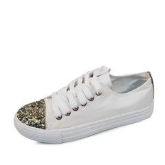 kami et muse Gold beads toe point canvas sneakers_KM16w374