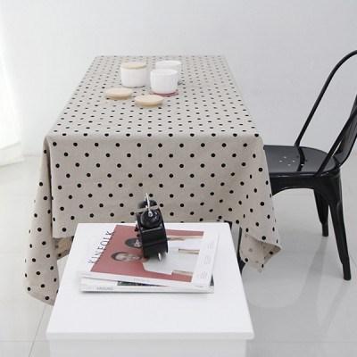 블랙 도트 리넨 테이블 커버