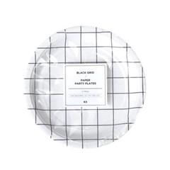블랙 그리드 종이접시 (12p)