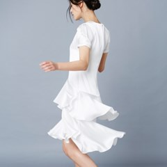 [클레어드룬] SILK RUFFLE DRESS