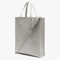 LEATHER SQUARE SHOULDER&TOTE (LIGHT GREY)