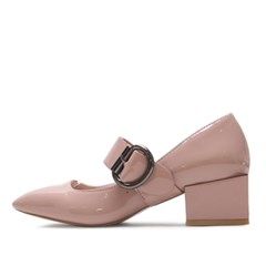 kami et muse Retro style belted enamel pumps_KM17s030