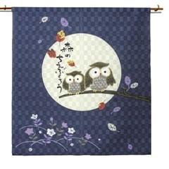 일본풍 커튼 노렌(숲의 지혜 올빼미 보름달)H90cm-cos024