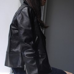 COW LEATHER RIDER JACKET / BLACK_(500257)