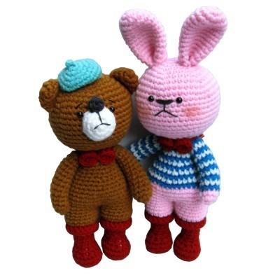 [손뜨개 DIY]손뜨개인형-빨간장화친구들-토끼곰