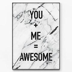 메탈 마블 레터링 명언 포스터 액자 Awesome