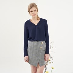 BUTTON POINT CHECK WRAP MINI SKIRT