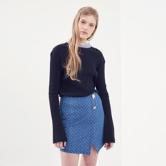 BUTTON POINT DENIM WRAP MINI SKIRT