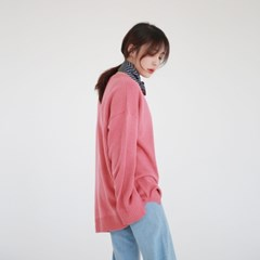 Color loose-fit round knit