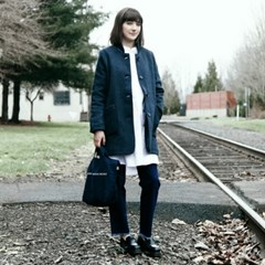 ROWAN WOMENS WOOL COAT - NAVY