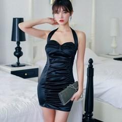셰이디 셔링 블랙미니 드레스_(497028)