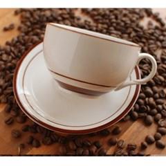 카페 컵&소서_ 브라운라인
