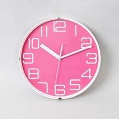 컬러 핑크 저소음 벽시계