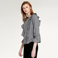 FRILL BANDING CHECKED BLOUSE (BLACK)
